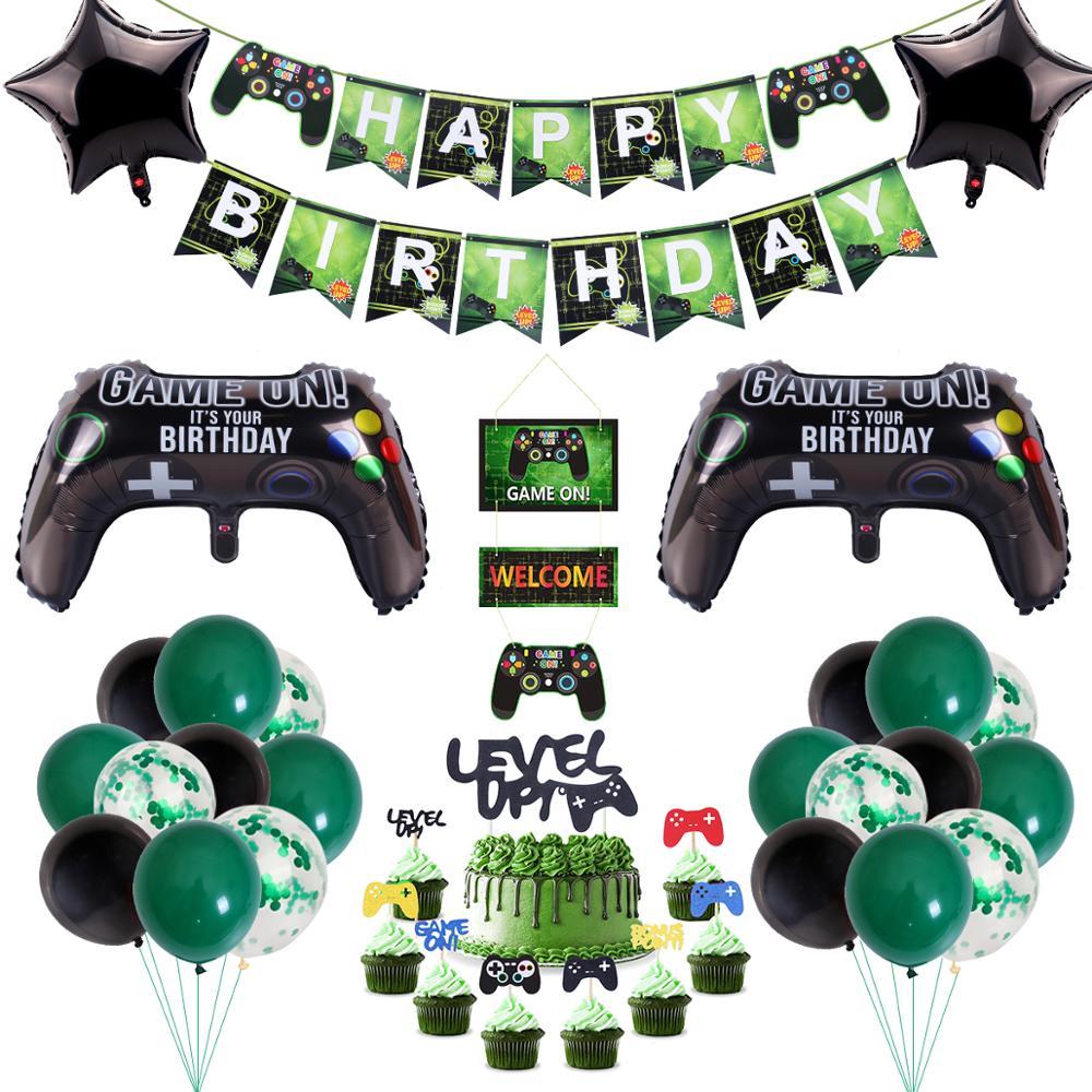 Видеоигры баннер на день рождения с геймпад для мальчиков надуть вечерние Поставки игрушка игра на Фольга шар с днем рождения украшения для...