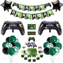 Video Game Gelukkige Verjaardag Banner Gamepad Jongen Opblazen Feestartikelen Speelgoed Spel Op Folie Ballon Gelukkige Verjaardag Decoratie Kinderen Speelgoed