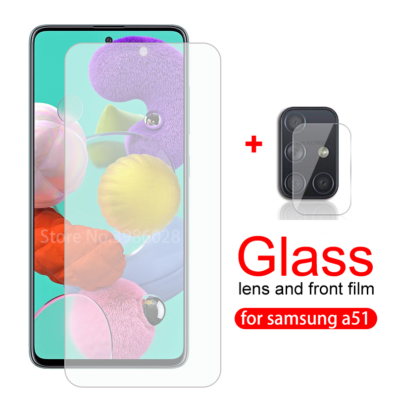 """2 in 1 Camera lens tempered glass for samsung galaxy a51 screen protector on the sumsung a51 a 51 a515f a515 sm-a515 6.5"""" glass"""