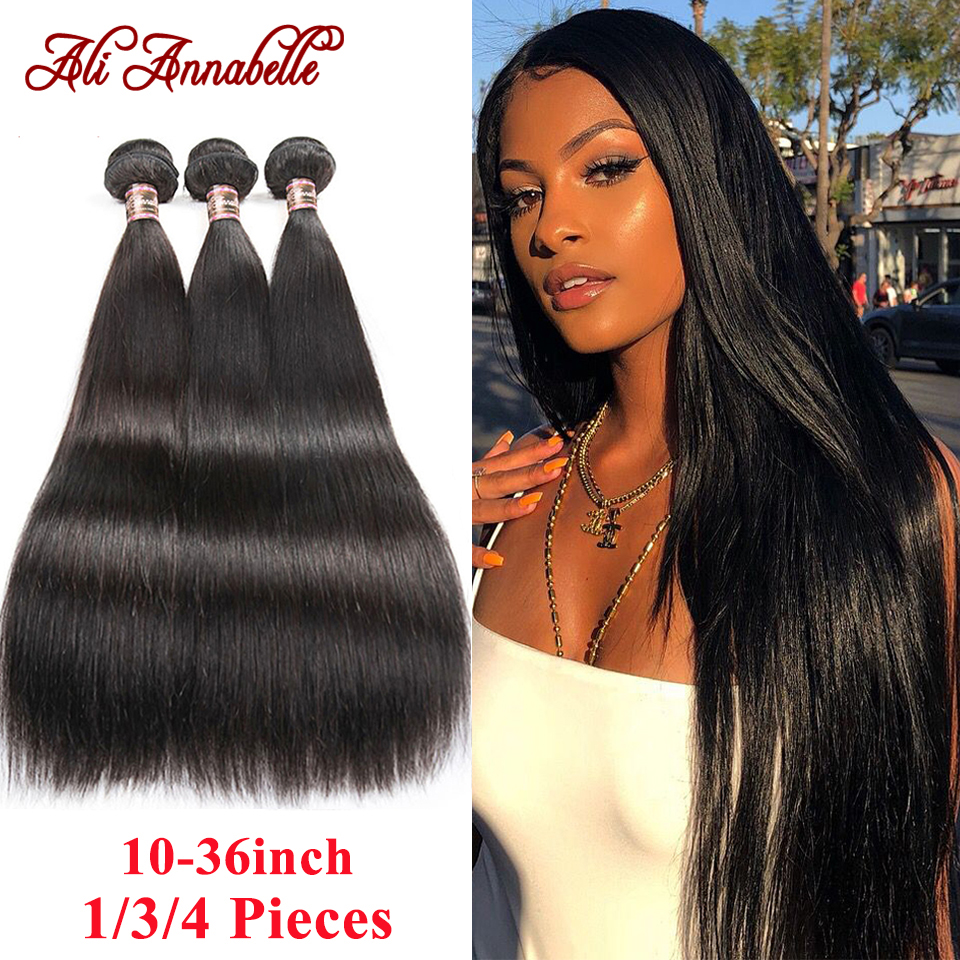 Feixes de cabelo reto peruano 1/3/4 pçs em linha reta feixes de cabelo humano 10-36 polegada cabelo longo ali annabelle remy extensões de cabelo