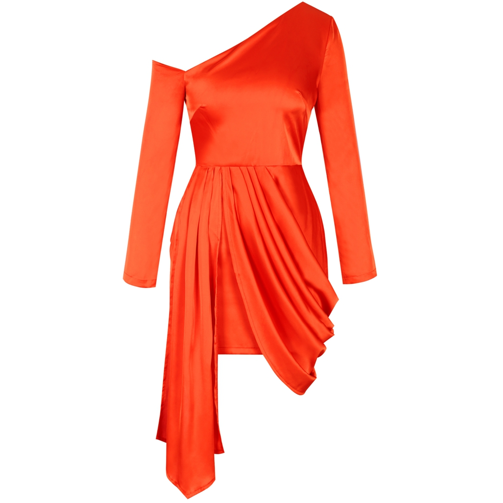 Dress Orange MiniAsymmetrical Sleeve
