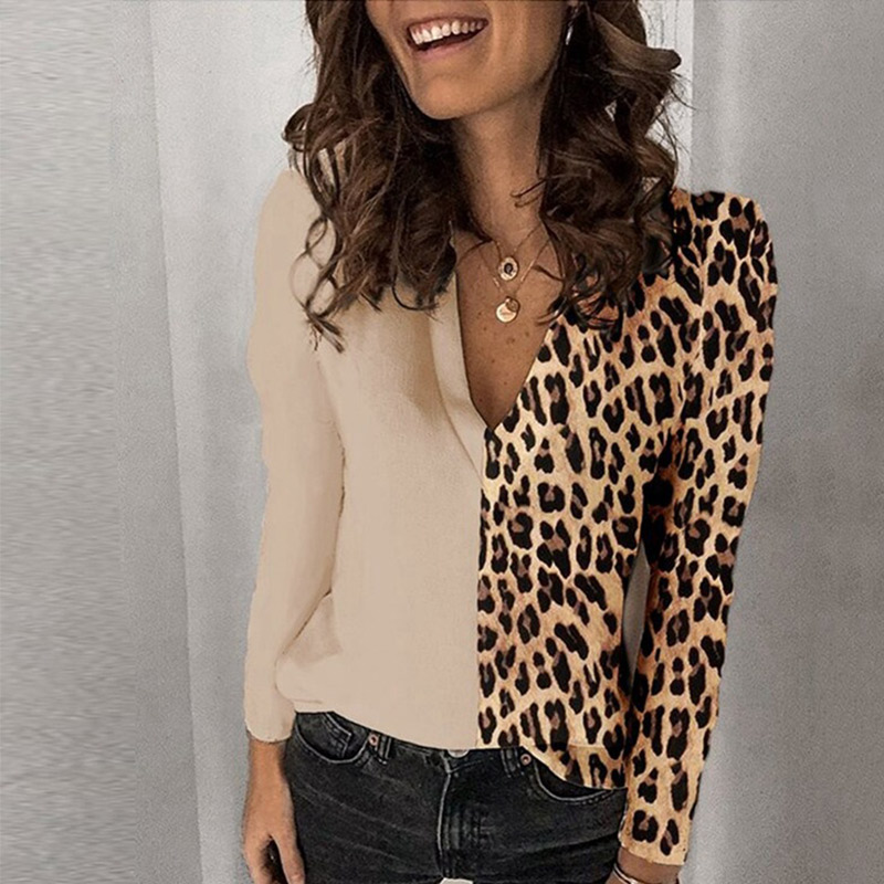 Leopard print 5XL Women's Blouse Contrast Color V-neck Long Sleeve Female Blouses Autumn Summer Lady Tops Casual Sexy Clothes Women Women's Blouses Women's Clothings 6f6cb72d544962fa333e2e: S|M|L|XL|XXL|XXXL