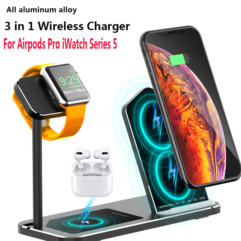 3 in 1 Wireless Charger For Airpods Pro iWatch Series 5 Fast Charging Stand Dock For Airpods Pro Phone Charging Stand for iPhone