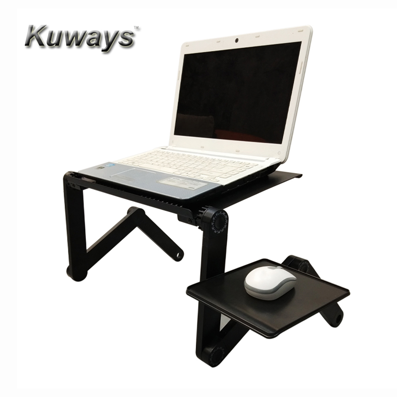 kuways adjustable aluminum laptop <font><b>table</b></font> 360 rotation angle <font><b>Portable</b></font> bed LCD Lapdesk tray <font><b>Notebook</b></font> laptop stand with mouse pad image
