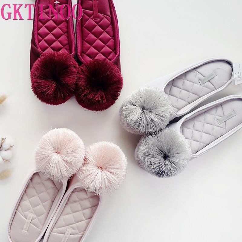 GKTINOO Autumn Winter Warm Women Home Slippers Soft Non-slip Indoor Shoes Cute House Slip On Flat Slides Ladies Fur Slippers