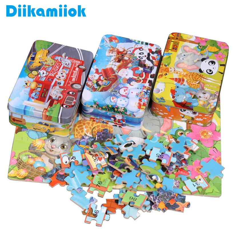 Hot 100 Pieces Wooden Puzzle Kids Cartoon Jigsaw Puzzles Baby Educational Learning Interactive Toys For Children Christmas Gifts