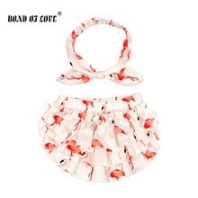 Новая хлопковая одежда для маленьких девочек детские шаровары с принтом фламинго, Детские шорты и повязка на голову, Подгузники для девочек, подгузники для мальчиков, От 0 до 2 лет