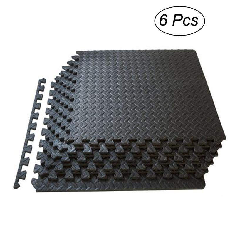 6pcs EVA Foam Tiles Puzzle Exercise Mat Health And Fitness Interlocking Tiles Floor Protective Cushion For Workouts (Black)