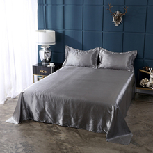 Upgraded Satin Silk Bed Sheet Silky Bed Cover Queen King Bedding Flat Sheet For Women