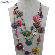 Hot selling national style necklace / petal coconut shell women 80cm/ wholesale dropshipping