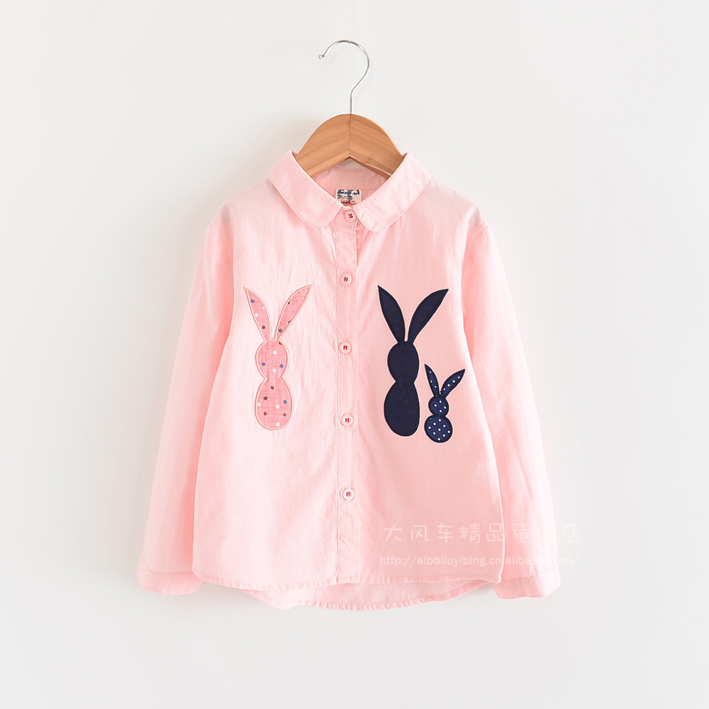 0606-08 2019 Autumn New Style Rabbit Embroidered Girls Doll Models Long Sleeve Lapel Shirt