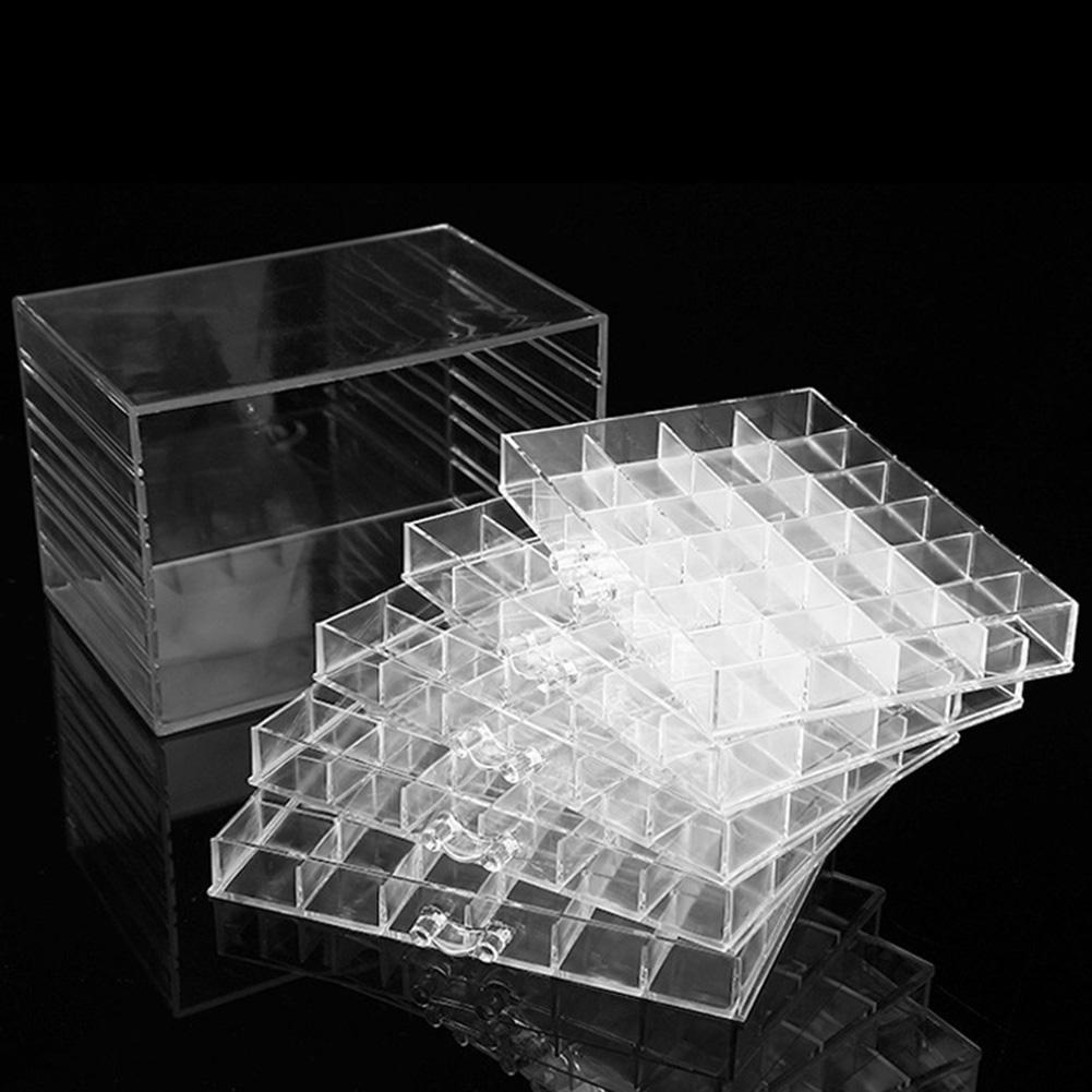 120 Grids Transparent Acrylic Nail Display Organizer Makeup Jewelry Drawer Box Holder Display Stand Make Up Storage Holder Case