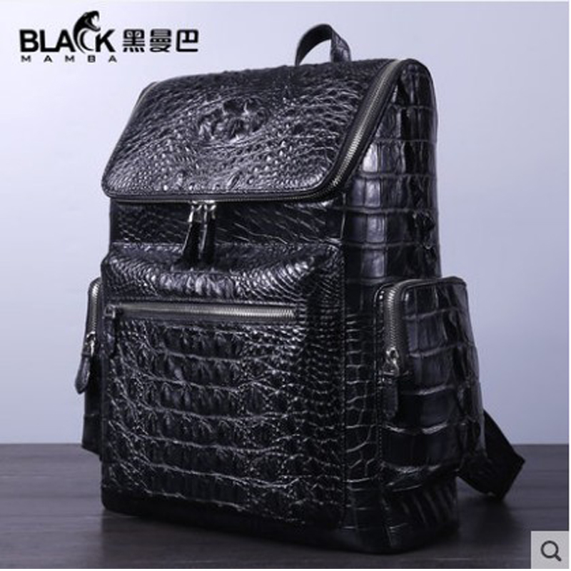 heimanba Genuine handmade Thai crocodile leather backpack for business travel large capacity casual men