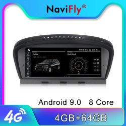 NaviFly 4GB Android 9 IPS screen Car multimedia player für BMW 5 Series E60 E61 E63 E64 E90 E91 CCC CIC system gps navigation