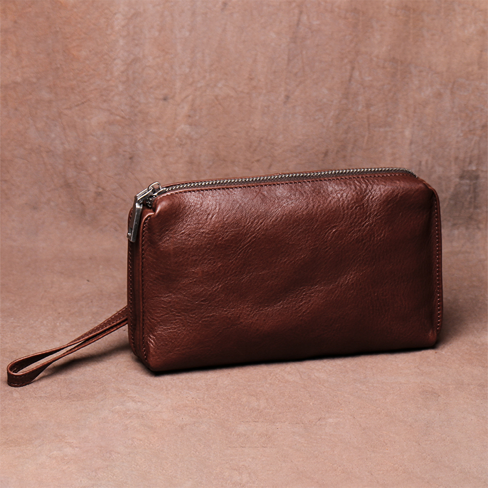NUPUGOO Vintage Clutch Bag For Men Genuine Leather Large Capacity Wallet Casual Credit Card Purse Man Hight Quality Mini Bag