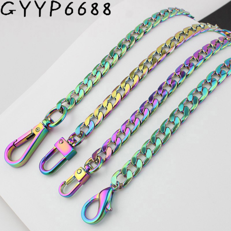 Width 10mm Rainbow Chain Bags Purses Strap Accessory Factory Quality Plating Cover Wholesale Flat Chain