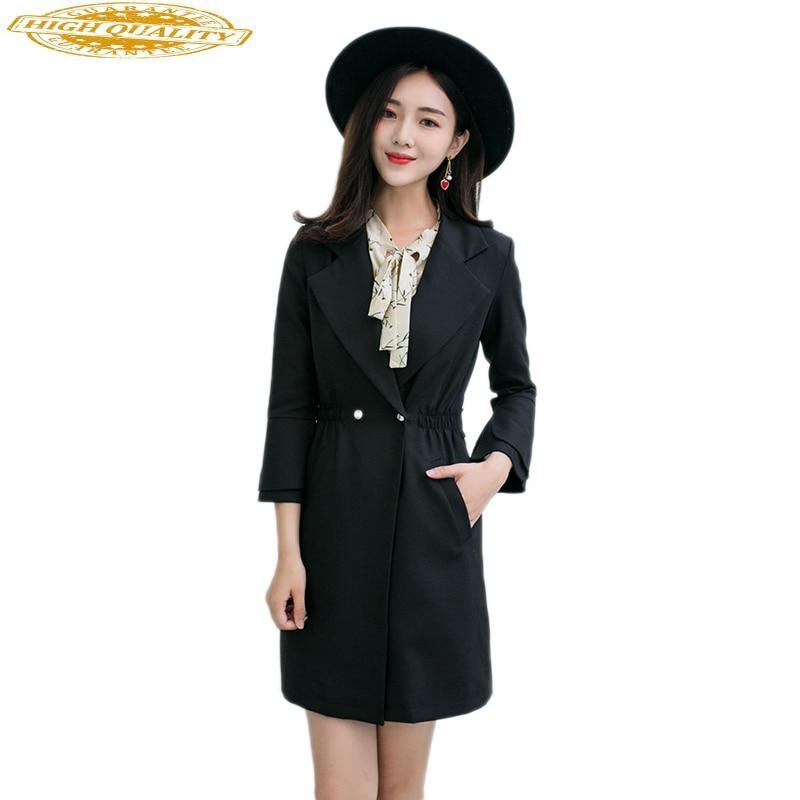 Casaco Feminino Black Trench Coat For Women Plus Size 4XL 5XL Windbreaker Slim Abrigos Mujer Long Coats Overcoat KJ148