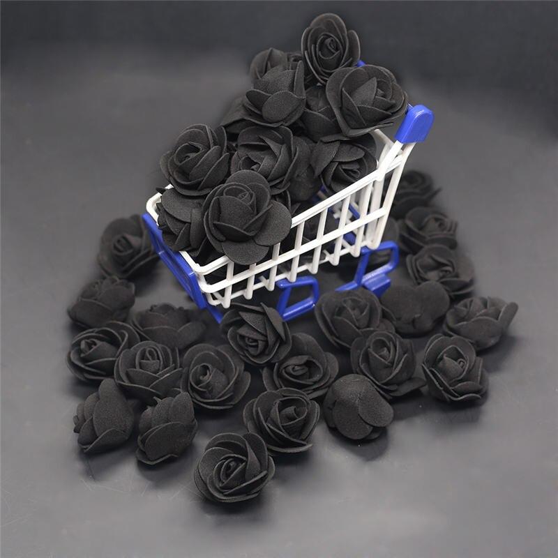 50 шт., 100 шт., 200 шт., дешевые мини-черные ПЭ пены, головка розы, искусственные цветы, свадебное украшение ручной работы
