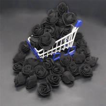 50 pces 100 pces 200 pces barato mini preto pe espuma rosas cabeça falso flor artesanal decoração de casamento