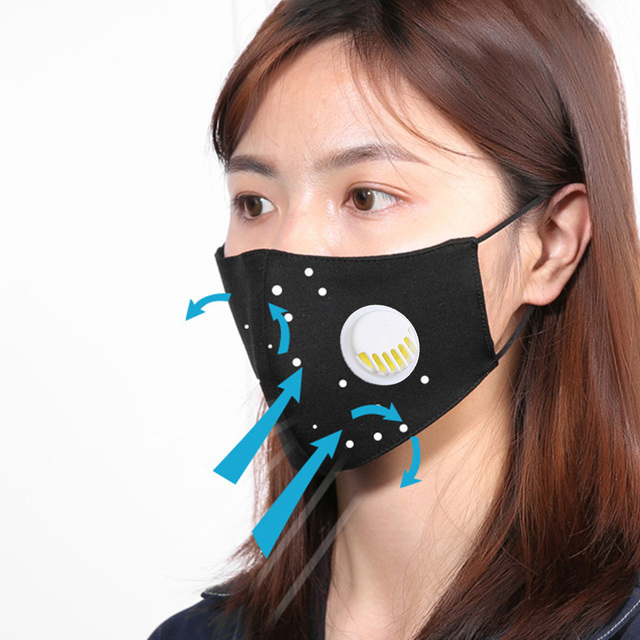 PM2.5 Cotton Black Color mouth Mask anti dust Activated carbon filter Windproof Mouth-muffle bacteria proof Flu masks