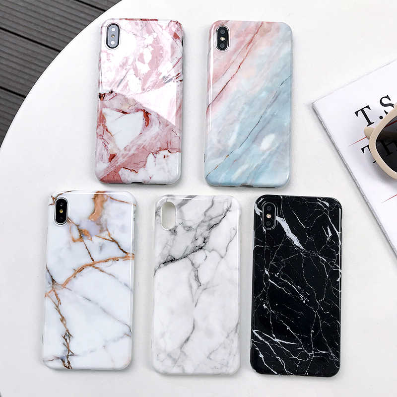 Funda de mármol X para iphone X XS Max, funda trasera de TPU suave para iphone XS XR iphone 8 7 6 6S Plus, funda de teléfono
