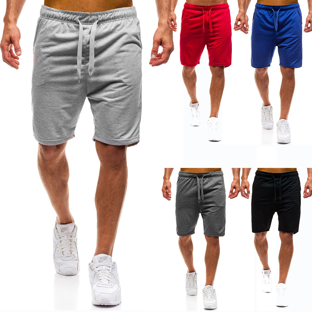 2018 New Style Europe And America Solid Color Large Size Loose-Fit Shorts Lace-up Multi-color Sports MEN'S Pants