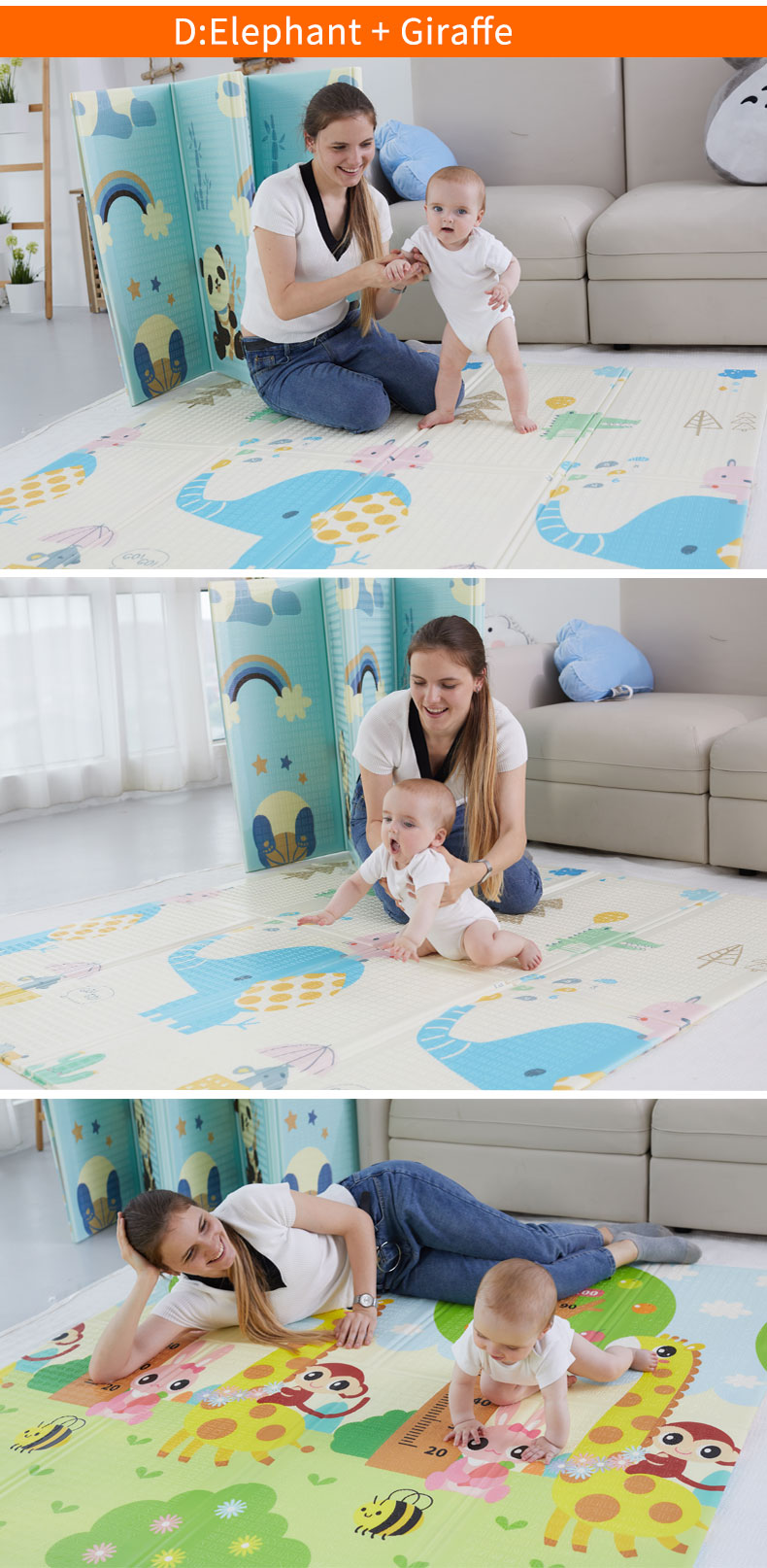 Haed7e8ef3d0b449581230dea856e7d9eS 180X200CM Baby Mat 1CM Thickness Cartoon XPE Kid Play Mat Foldable Anti-skid Carpet Children Game Mat