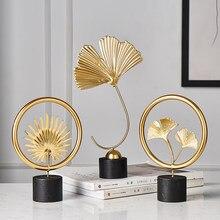 Décoration de maison moderne, accessoires de bureau pour salon, pièces décoratives pour la maison, Statue de feuilles, ornements miniatures en métal