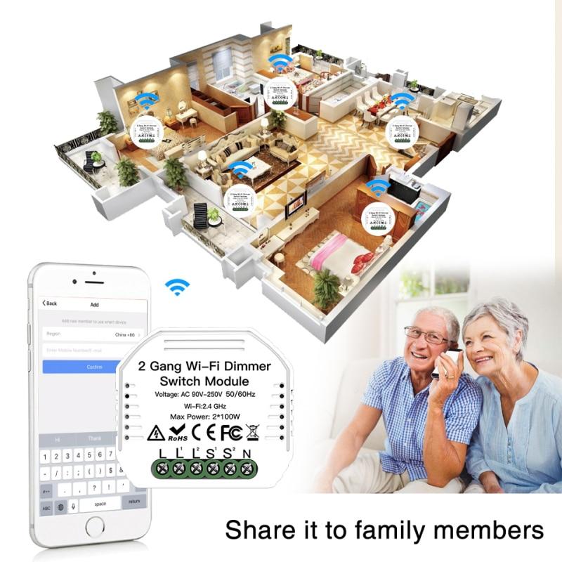 Trabalho com Alexa Nova Faça Você Mesmo Wifi Inteligente 2 Way Luz Led Dimmer Módulo Interruptor Vida – Tuya App Controle Remoto Google Casa 2020