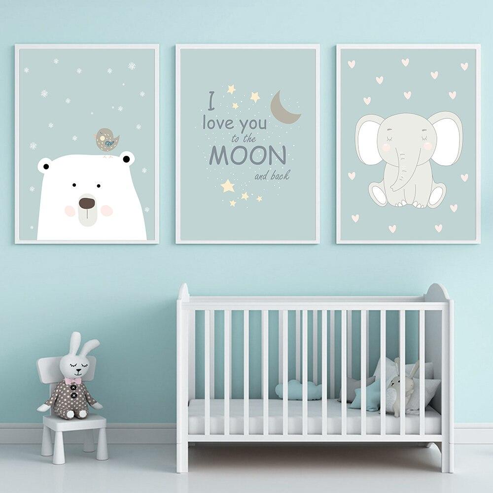 Pôster de elefante, lua, pintura em tela, poster para berçário, quadros, impressão de parede para bebê, menino, decoração de quarto