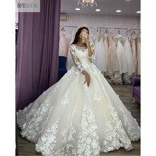 Tulle Organza, robe de mariée luxueuse en dentelle ivoire, manches 3/4, robe de bal, longueur au sol, avec traîne de chapelle, sur mesure