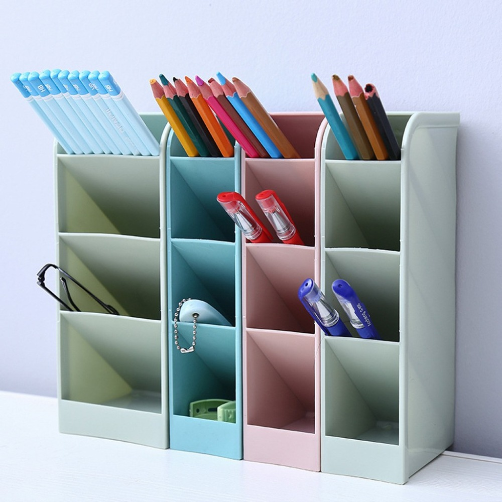 Creative four-grid storage rack can stand office stationery desktop storage box drawer finishing grid oblique insert pen 30O14 (5)