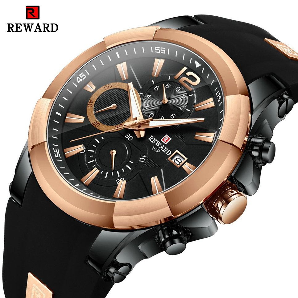 REWARD Sports Chronograph Watch Men Silicone Strap Military Casual Waterproof Mens Quartz Watches Top Brand Luxury Male Clock