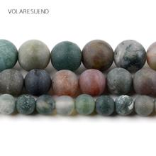 """Dull Polished Matte India Agates Stone Natural Round Loose Beads 15"""" Pick 6-12m Spacer For Charm Bracelet Jewelry Making"""