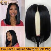 QT krótka, koronkowa peruka z ludzkimi włosami Bob peruka z wstępnie oskubane włoskowate 4x4 koronkowa peruka dla czarnych kobiet brazylijskie peruki z prostymi włosami