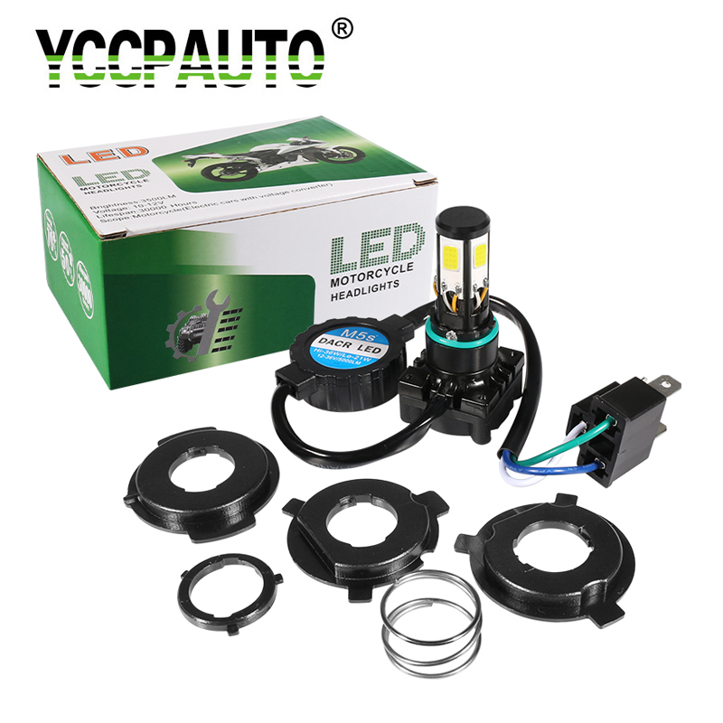 YCCPAUTO 1Set H4 <font><b>LED</b></font> Motorcycle headlight Fog Lamp H6 BA20D HS1 PH7 PH8 Motorbike Headlamp 36W 3500LM Hi/Low Beam White <font><b>12</b></font>-<font><b>80V</b></font> image