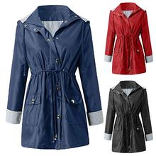Plus Size Women Trench Solid Color Lapel Long Sleeve Waist Drawstring Hooded Dus