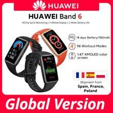 CODE:SUPERDEALS03 25€-4 off En stock Version Globale Huawei Band 6 Artérielle Smartband D'oxygène 1.47» 'AMOLED Fréquence Cardiaque Tracker surveillance du Sommeil