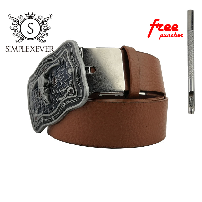 Novelty Western Cowboy Cow Head Belt Buckle Retro Silver Belt Buckle For Men With Leather Belt Drop Shipping