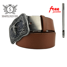 Novelty Western Cowboy Cow Head Belt Buckle Retro Silver for Men with Leather Drop Shipping