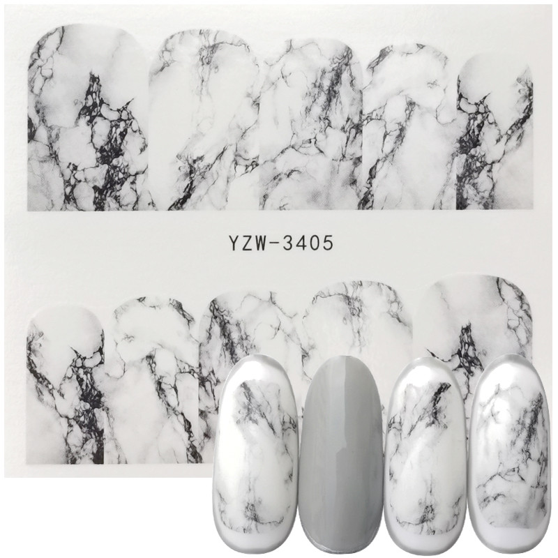 1 Sheet White Black Gradient Marble Nail Art Sticker Water Transfer Decal Watermark Slider Manicure Full Wrap Tool Decor