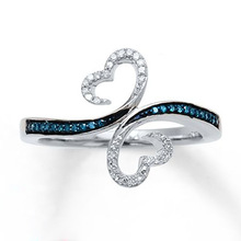 Exquisite Silver Color Hollow Butterfly Crystal Ring Double Heart White/Blue Zircon Wedding Engagement Jewelry Lovers Gift