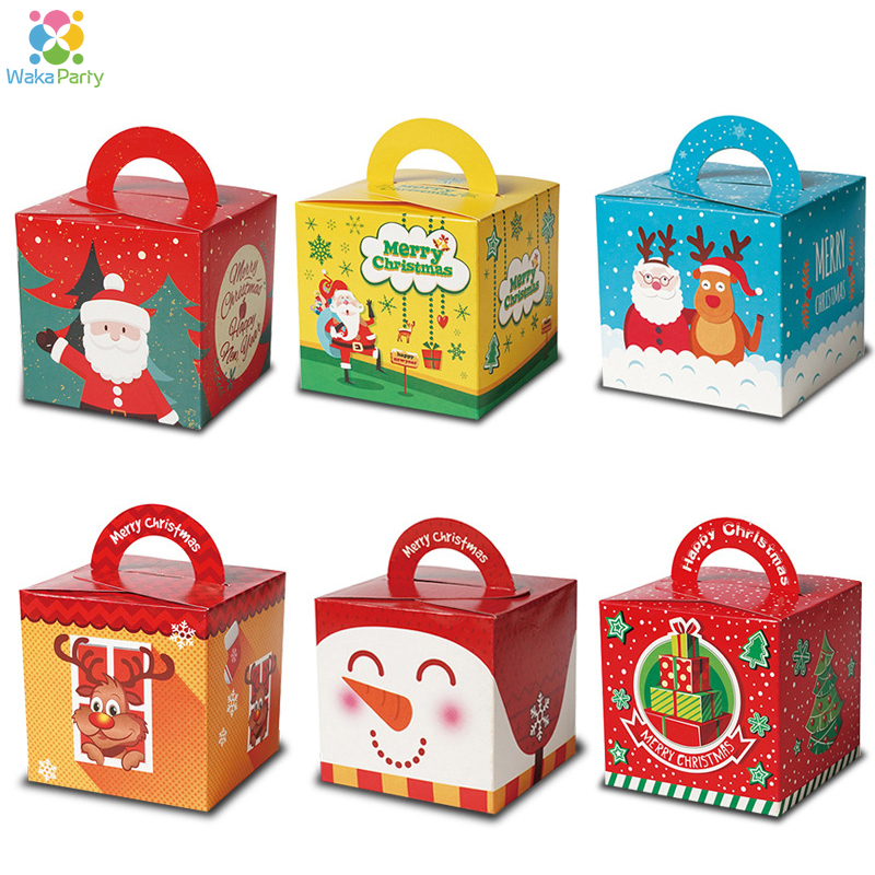 12pcs Christmas Cartoon Candy Boxes Gift Bags 2019 Merry Christmas Decoration Xmas Party Favor Gift Box Bag For Kids Children