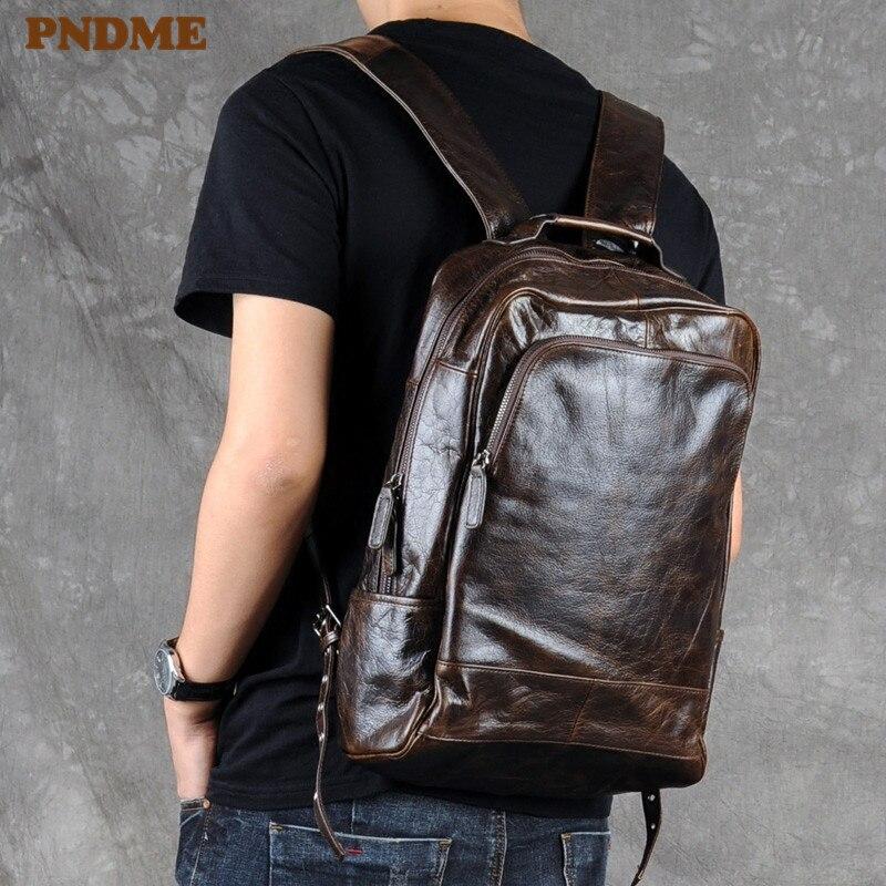 PNDME Fashion Vintage High Quality Genuine Leather Men's Backpack Casual Simple Designers Bookbag Teens Travel Laptop Bagpacks