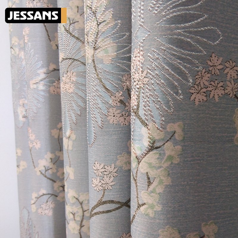 High-precision Jacquard Backing Curtains High Shading Flowers Curtains for Living Dining Room Bedroom