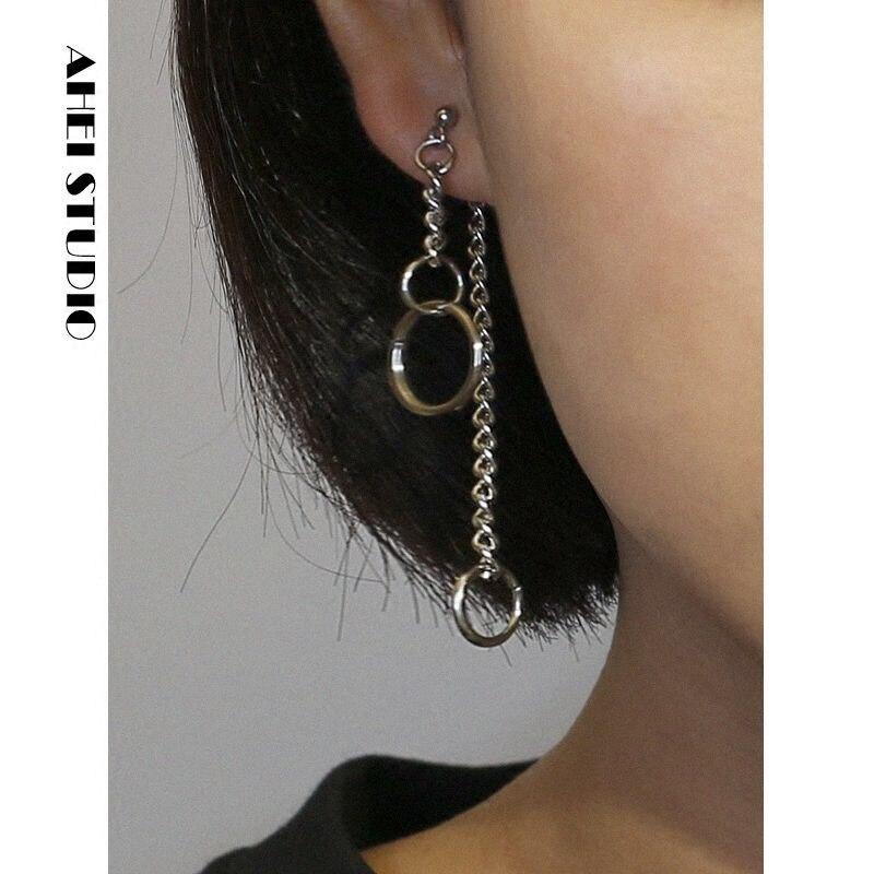 Street Style Geometric Circle Earring Chain Ring Long Earring Pendant Asymmetric Back Hanging Two Simple Female Earrings Earring
