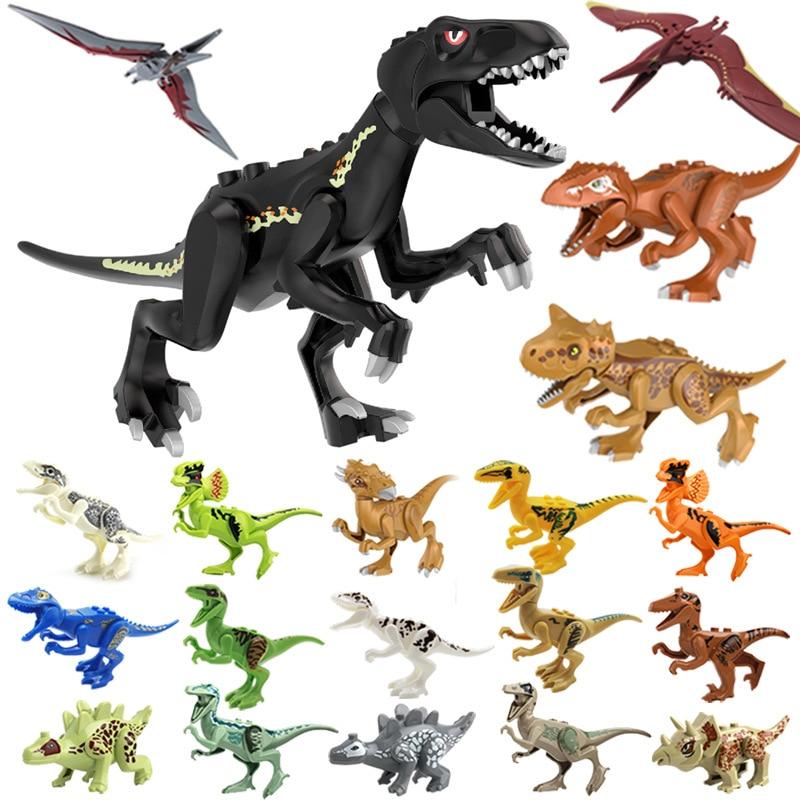 Blocks Jurassic Dinosaurs Tyrannosaurus Rex Wyvern Velociraptor Stegosaurus Building Blocks Toys For Children Dinosaur