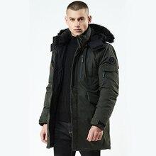 URSPORTTECH Winter Jacket Men Parka Fur Collar Hooded Jacket Fashion Thick Warm Medium Long Coat Jacket male parka coat Green цена 2017