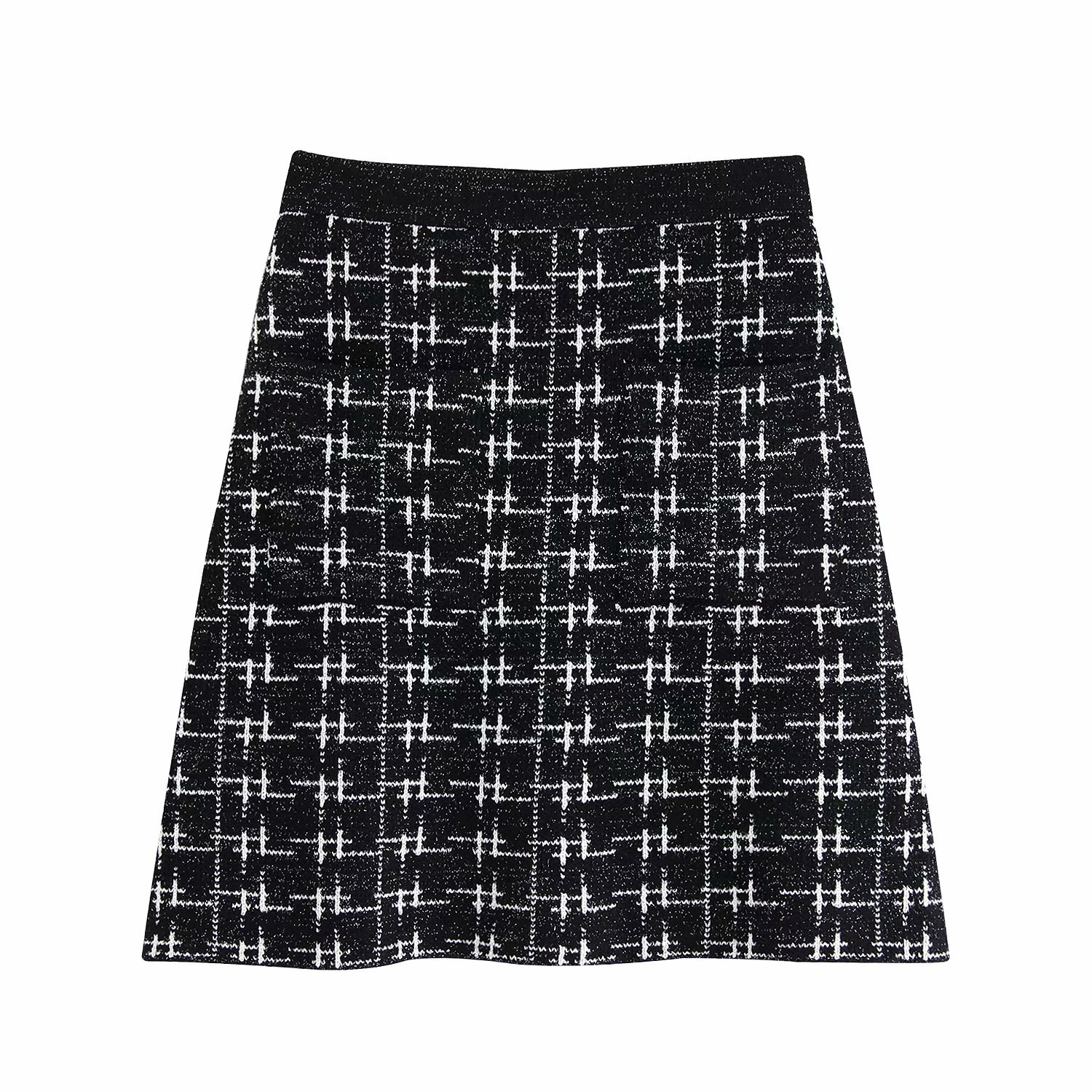 WOMEN'S Dress 2019 Autumn Metal Color Line Plaid High-waisted Base Knitted Skirt WOMEN'S Dress