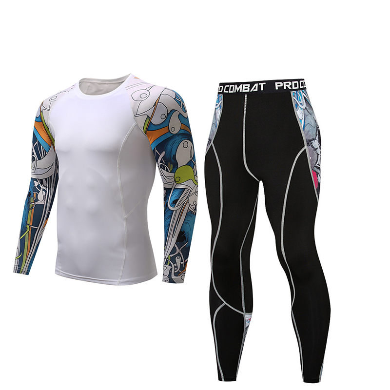 MMA Men's Fitness Suit Thermal Underwear Gym Sportswear Rashguard New Fashion Men's Long Sleeves Ca Good Set